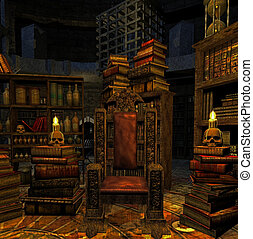 wizard`s room - Fantasy room with an ornamented chair and...