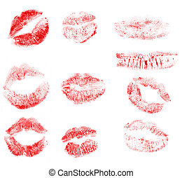 Set print of lips. It is isolated on a white background