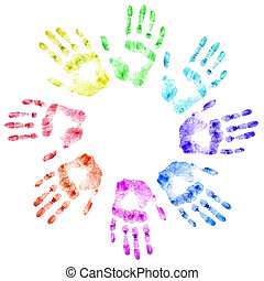 Color print of human hands The detailed image It is isolated...