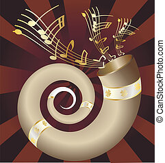 musical horn - on an dark abstract background musical big...