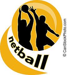 netball player jumping ball