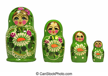 Matruska doll over white - Green color matruska dolls over...