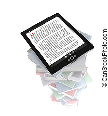Tablet PC on stack of books - Reading E-books on the tablet...