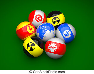 Billiard balls with danger signs and earth on a green...