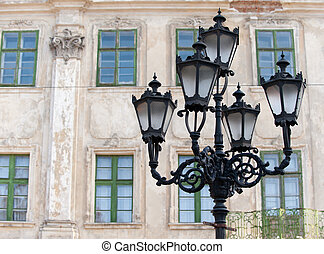 Old lantern Street lamp in the city of Lvov