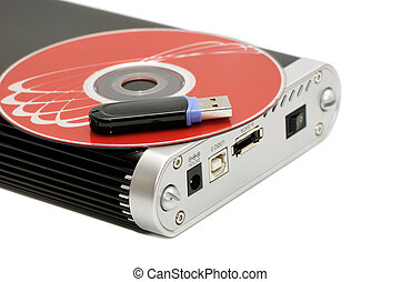 hard disk, flash memory and computer disk isolated on a...