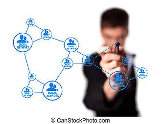 diagrama, mostrando, social, networking, conceito