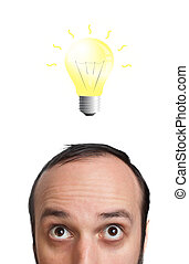 Funny young man with light  bulb over his head 2