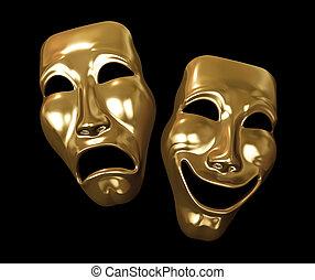 drama, comedia, máscaras, dorado