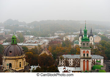 City - the top view. The city of Lvov the country Ukraine