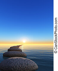 rock and sunrise. The abstract bridge in the open ocean from...