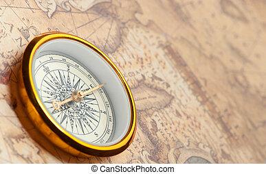 mappa, Antico, vecchio, Bussola