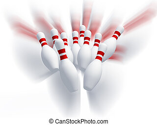 Skittles for game in bowling Effect motion It is isolated on...