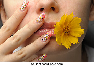 Female face close and nail art - Female face close up c...