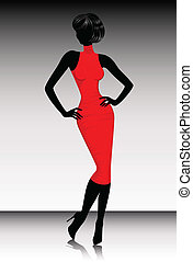 Silhouette of the harmonous woman