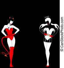 Silhouettes of an angel and devil
