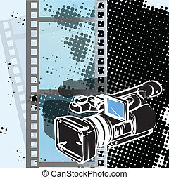 video camera - Illustration, video camera drawn by pencil on...