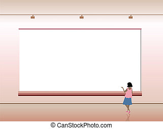 Presentation advertising board with people. Vector