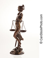 Justitia. Symbol of justice - Justice with scales. Symbol of...