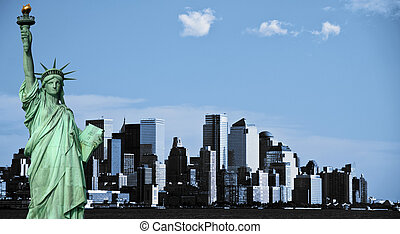 new york city skyline, downtown nyc, usa - photo new york...