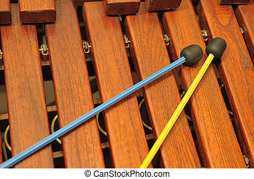 Wood xylophone and mallets A photo close up Original color