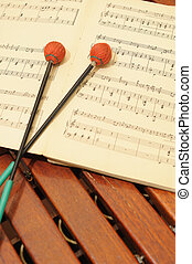 Wood xylophone with notes and mallets A photo close up...