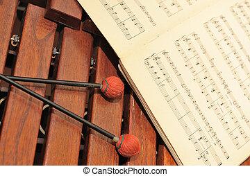 madeira, xilofone, notas, mallets
