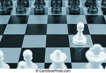 Chess.The first movement white. A logic board game