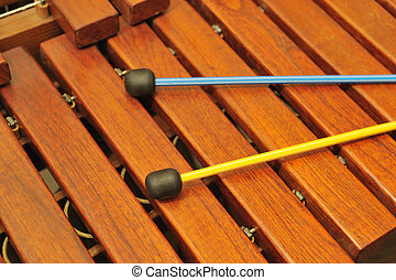Wood xylophone and mallets. A photo close up. Original color