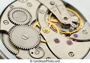 The mechanism of analog hours A photo close up