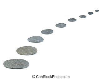 Row pebbles. Sea stones. It is isolated on a white...
