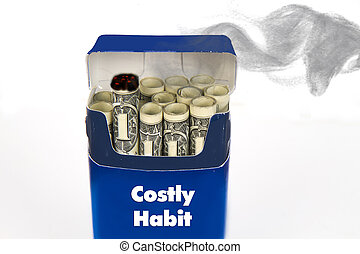 Cigarettes Burning Money - Costly cigarettes concept with...