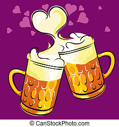 beer and love - vector image of two beers, radiating love...