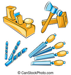joiner hand tools - set vector images of hand tools for a...