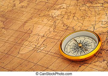 mappa, vecchio, Bussola