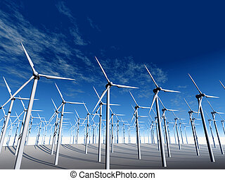 Wind power stations. On a background of the dark blue sky
