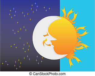 Night and day, sun and moon - Watching the sun rise and set,...