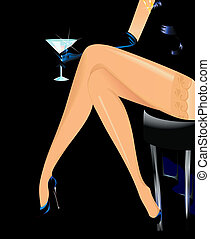 woman legs walking in black shoes