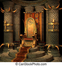 fantasy throne room - 3d render