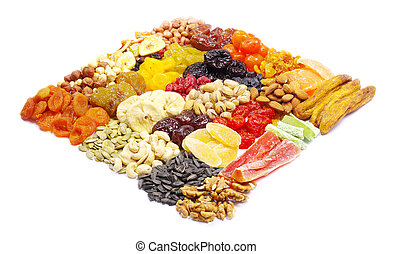 mix dried fruits collection on white
