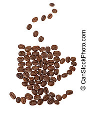 Cup from grains of coffee