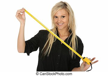 Lovely Blond with Tape Measure - Pretty blond beauty girl...