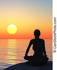 The women in a pose of a lotus A sunset above ocean