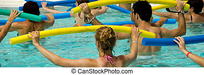 Aerobic in pool - People are doing water aerobic in pool 1:3...