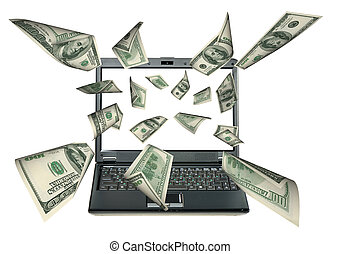 Laptop and dollars Money taking off from the screen