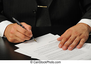 businessman the signing contract - The businessman the...