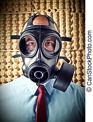 man with gas mask - portrait of businessman wearing classic...