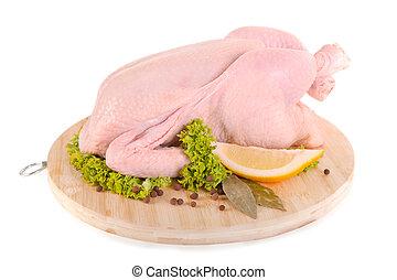 frais, cru, poulet, condiments, bois, planche