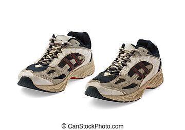 Funcionamiento, zapatos, viejo