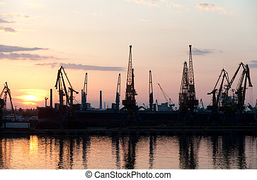 Seaport night time. The Odessa trading seaport. Ukraine